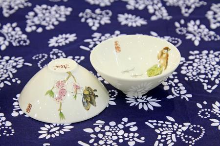 Ceramic tea set on the batik fabrics