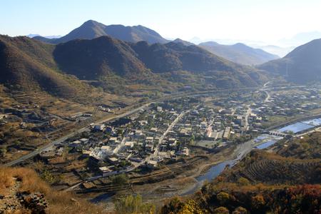 mountain village scenery Stock Photo