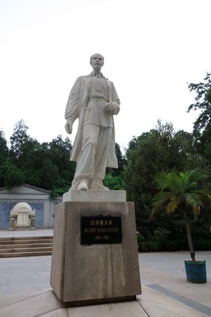 hebei: Shijiazhuang - May 5, 2017: Dr Bethune statue, outside a memorial hall, Shijiazhuang, Hebei Province, china.