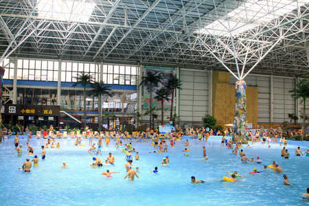 FengRun County - June 6: water slides in the indoor playground, on June 6, 2015, FengRun County, hebei province, China Editorial