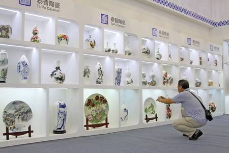 droplight: Tangshan - September 16: fine ceramic products in a store on September 16, 2015, tangshan city, hebei province, China
