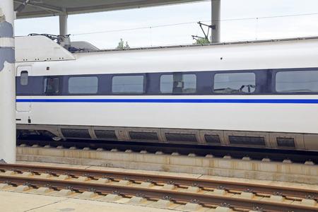 High speed train and rail Stock Photo