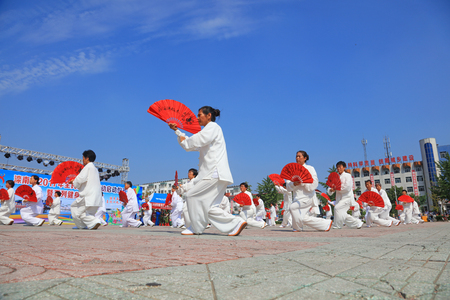 Luannan County - August 8, 2017: Taiji Kung Fu performance in a park, Luannan County, Hebei Province, china. Editorial