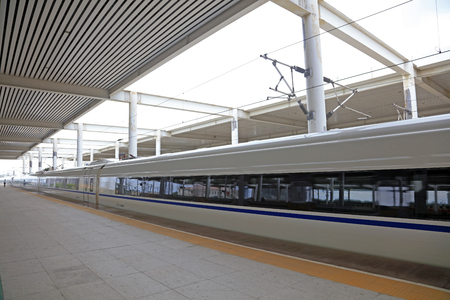 High speed train in a station Editorial