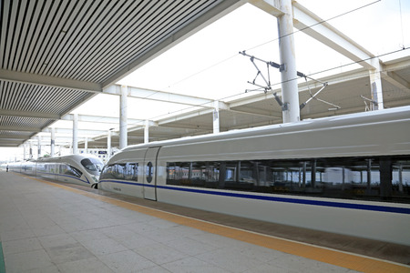 High speed train at a station