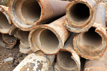 Broken pipes Stack together Stock Photo