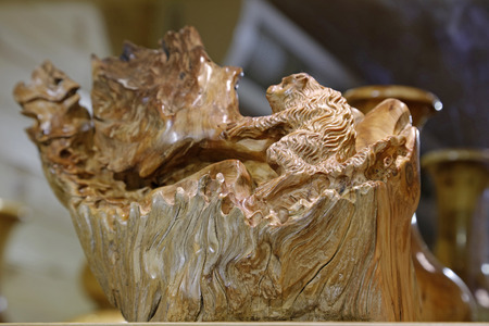 Wooden carving handicraft close up view Stock Photo