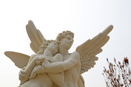 Cupid and psyche sculpture at a park, China