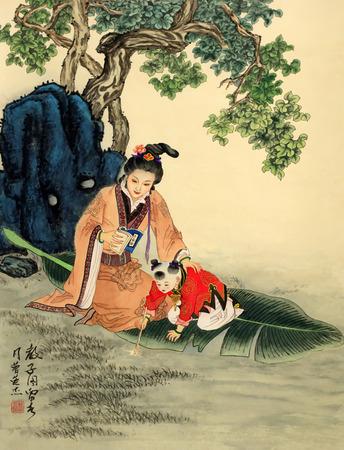 Chinese traditionele kunstwerken in een tentoonstelling