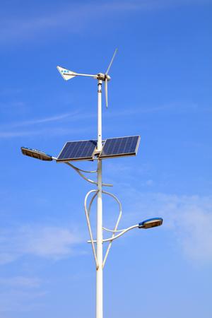 Wind energy solar street lamp