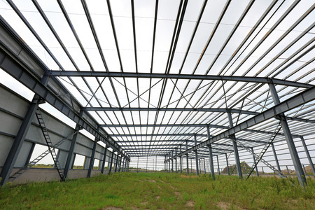 Steel frame of industrial factory building   版權商用圖片