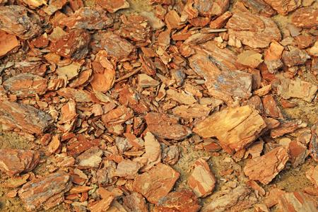 Pine bark fragments stacked together