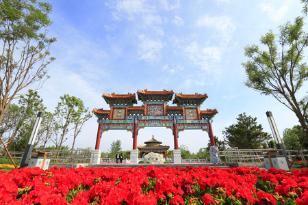 Tangshan City - May 15, 2016: Chinese ancient architecture, in a park, Tangshan City, Hebei, China   에디토리얼