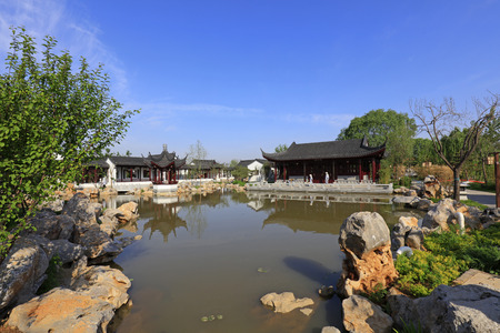 The scenery of the South Lake Park in Tangshan, China