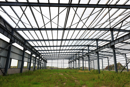 Steel frame of industrial factory building   Stock Photo