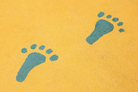 footprints are on the yellow ground