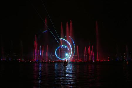 Music fountain water curtain laser