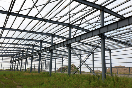Steel frame of industrial factory building