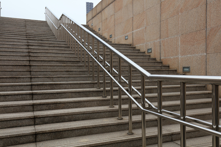 Stainless steel handrails and steps Stock Photo