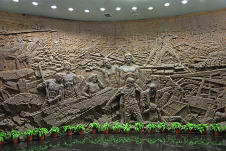 Tangshan City - September 29, 2016: wall sculpture in the museum, Tangshan City, Hebei, China.