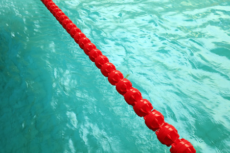 red plastic cordon in the swimming pool