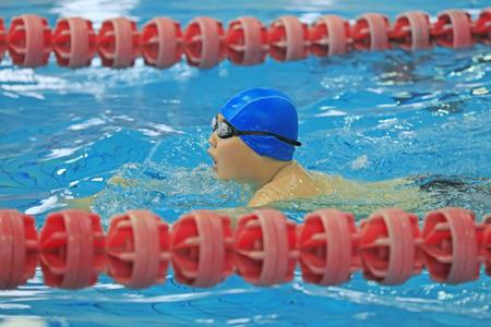 Tangshan City - December 24, 2016: a girl swimming in Tangshan City, Hebei, China