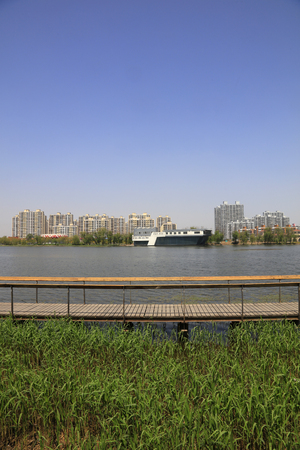 Waterfront City Architectural Landscape, Tangshan, China 스톡 콘텐츠
