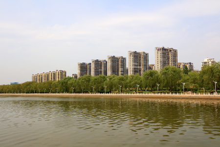 High-rise buildings at the waters edge