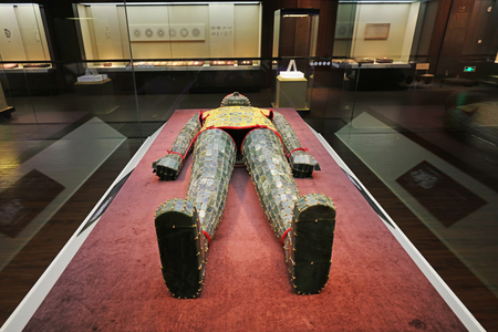 Shijiazhuang City - July 26, 2017: Jade clothes sewn with gold wire Exhibition in Museum, Shijiazhuang City, Hebei Province, China