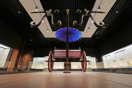 Shijiazhuang City - July 26, 2017: Wooden Vehicles in Ancient China in Museum, Shijiazhuang City, Hebei Province, China