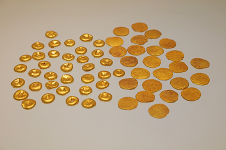 Gold cakes in the exhibition hall, Precious Cultural Relics Unearthed in Ancient Times