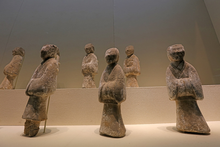 Chinese ancient ceramic figure sculpture, unearthed cultural relics