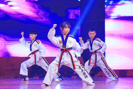 Luannan County - January 29, 2019: Children Wushu Kungfu Performance on the Stage, Luannan County, Hebei Province, China