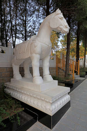 Horse sculpture in a park, China
