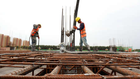 Construction site concrete pouring site, Luannan County, Hebei Province, China