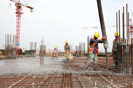 Luannan County, China-September 10, 2019: Construction site concrete pouring site, Luannan County, Hebei Province, China
