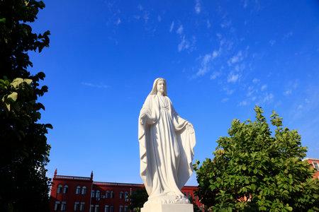 Virgin Mary sculpture outside the Catholic Church