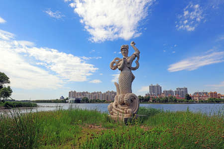 Mermaid Sculpture in Park, Luannan County, Hebei Province, China