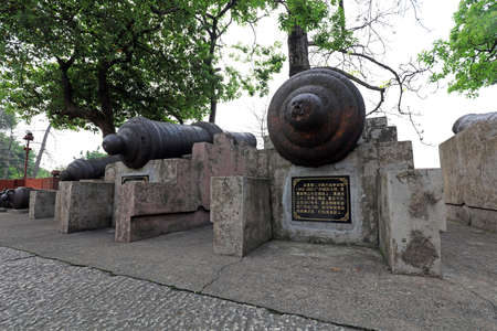Cannons used during the Opium War in Yuexiu Park, Guangzhou, Guangdong Province, China