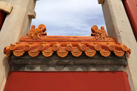 Architectural scenery of Qing Dynasty in Ditan Park, Beijing, China
