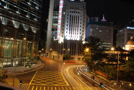 nightview: Nightview in Central Hong Kong, showing the moving of cars Stock Photo