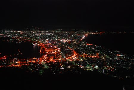 One of the three great night view in the world - Hakodate, Japan (Red Tune) photo