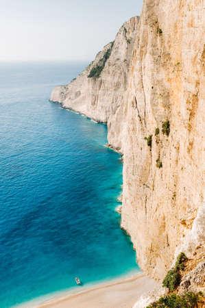 Navagio beach. Shipwreck bay, Zakynthos island, Greece View from above 版權商用圖片