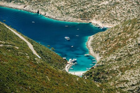 Porto Vromi on Zakinthos Island.Sights of the Zakinthos Island. Best beaches in Greece. Yachts and sea. Stock Photo