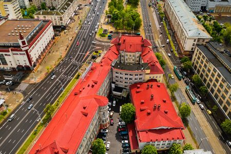 Top view of the historical center of Minsk and Yakub Kolas Square.Old town in the center of Minsk and Independence Avenue.Belarus Foto de archivo