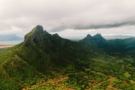 Aerial view of mountains and fields in Mauritius island