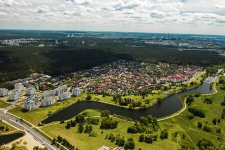 aerial photography from above of a large number of houses in the Eastern district of Minsk.The district of the city of Minsk the river Svisloch.Belarus. Reklamní fotografie