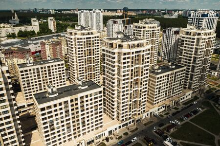 View from the height of the new district in the city of Minsk.Architecture of the city of Minsk.A new area of the lighthouse.Belarus.