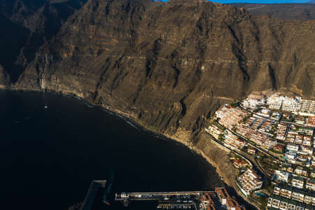 Aerial panorama of Acantilados de Los Gigantes Cliffs of the Giants at sunset, Tenerife, Canary islands, Spain