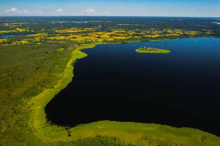 Top view of lake Drivyaty in the Braslav lakes National Park, the most beautiful lakes in Belarus.An island in the lake.Belarus 版權商用圖片